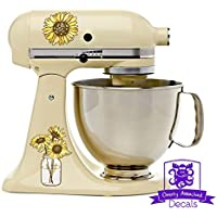 Pretty Rustic Sunflowers in Canning Jar Kitchen Stand Mixer Appliance Decal Front/Back Vinyl Decal Set - Full Color