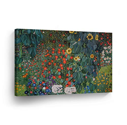 Country Garden with Sunflowers by Gustav Klimt Canvas Print Wall Art Famous Art Painting Reproduction Fine Art Oil Paintings Modern Art Home Decor Stretched Ready to Hang-%100 Made in The USA- 24x36