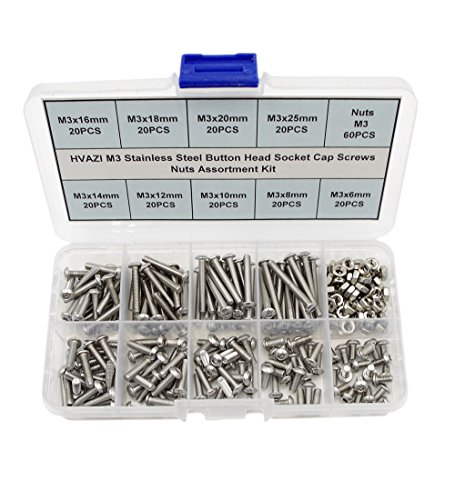 HVAZI Metric M3 304 Stainless Steel Button Head Socket Cap Screws Nuts Assortment Kit