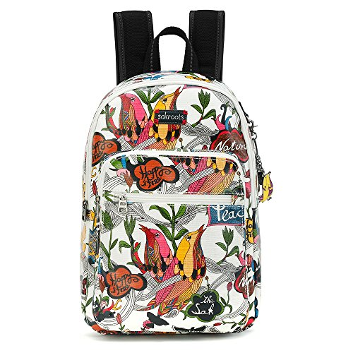Sakroots Artist Circle Mini Backpack, White Peace, One Size