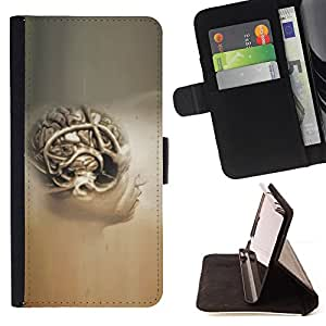 DEVIL CASE - FOR Samsung Galaxy Note 3 III - Brain Human Anatomy Art Drawing Painting Head - Style PU Leather Case Wallet Flip Stand Flap Closure Cover