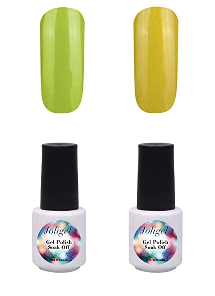 Joligel 2x Esmaltes Semipermanentes Gel de Uñas Set 5ml/pc Económico para Manicura Pedicura UV