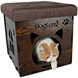 Cat Ottoman House Wooden, AYADA Footstool Stool Footrest Enclosed Cat Pet Cave Nest Lounge Condo Cube Bed with Linen Removable Sitting Cushion and Pet Pad Warm (16x16x16 inch) - Brown
