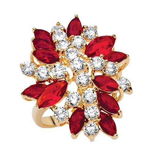 Lux 18K Yellow Gold-Plated Marquise Cut Simulated Red Ruby and Cubic Zirconia Flower Ring (Ruby Cluster Ring)