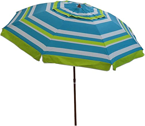 8 feet Outdoor Patio Umbrella with Tilt, UV Protection Vented Canopy Including Carry Bag 8 , Green Stripe