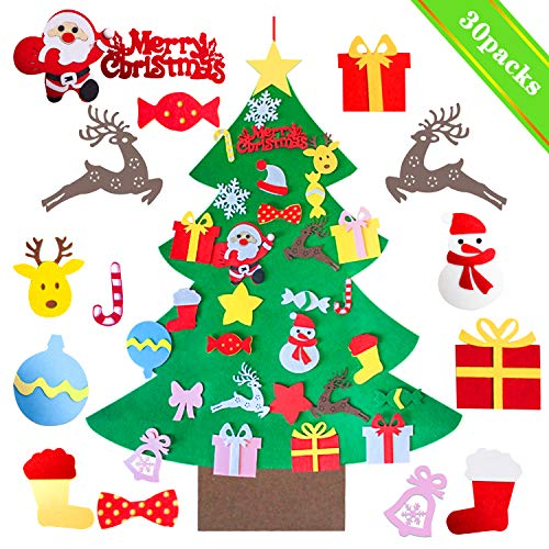 Mansalee 3.3ft DIY Felt Christmas Tree Set + 30pcs Detachable Ornaments, Wall Hanging Xmas Gifts for Christmas Decorations Christmas Ornamentst (Decorations Sale Christmas After)