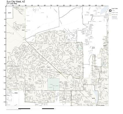 Sun City West Az >> Amazon Com Zip Code Wall Map Of Sun City West Az Zip Code