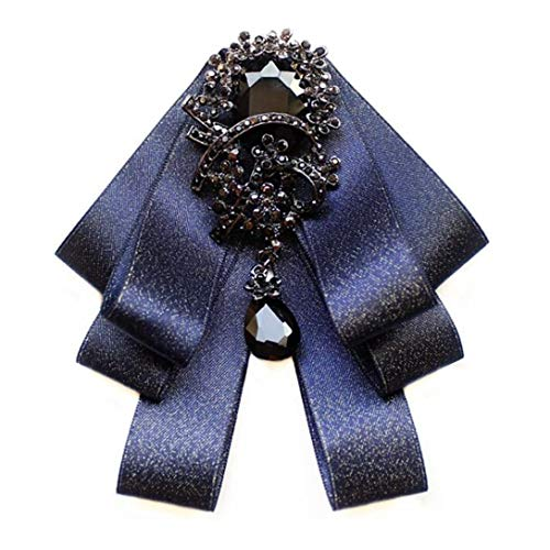 (Ribbon Crystal Neck Tie Brooch Pin Bow Tie for Men Women, HAPPYTRY Independence Day Jewelry Gifts (Shiny Blue))