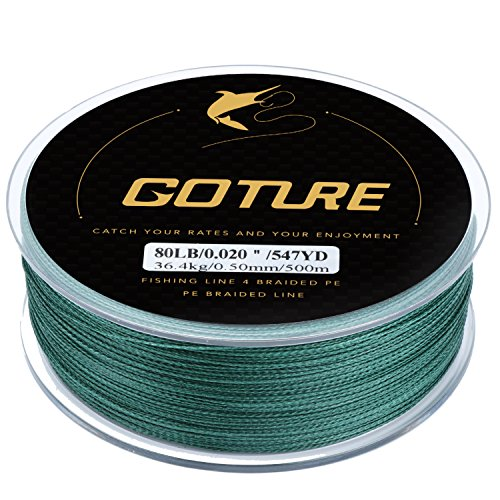 Leader 100 Yds Spool (Goture 8-80LB Superpower Braided Fishing Line–Zero Stretch and High Tension Advanced Multifilamentline for Saltwater and Freshwater - Army Green, Blue, Blackish Green, Grey, Yellow- 2017 NEW)