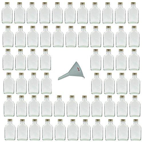 Viva Haushaltswaren - 60 kleine Glasflaschen 100 ml, Flachmann mit Schraubverschluss zum Selbstbefüllen inklusive Einfülltrichter, Durchmesser 7 cm
