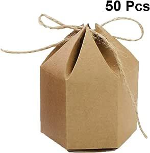 TOYANDONA 50 Unidades Cajas de Regalo hexagonal de Papel Kraft Caja de Dulces con 50 Guitas para Boda Fiesta Cumpleaños: Amazon.es: Oficina y papelería