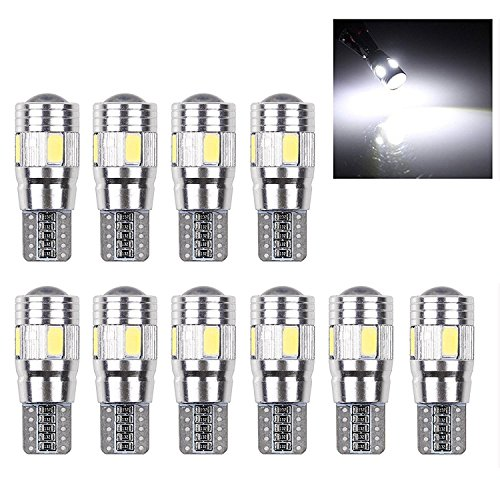 Powstro LED Wedge Light Side Bulbs, 10Pcs T10 W5W 168 194 6SMD 5630 LED Wedge Light White Side Bulbs Canbus Error Free (Convex Wedge)