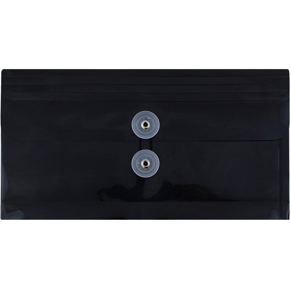 JAM Paper #10 Plastic Business Envelope with Button and String Tie Closure - 5 1/4'' x 10'' - Black - 108/pack