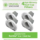 4 Dust Cup Style Filters for Eureka 160A, 166 and 92A 4-in-1 Stick Vac Vacuums; Compare to Eureka Part Nos. 60796; Designed & Engineered by Think Crucial