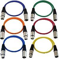 Cables de cable de parche de 2 pies de GLS Audio - XLR macho a XLR hembra Cables de color - Cable de serpiente equilibrado de 2 '- 6 PAQUETES