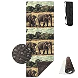 Non Slip Yoga Mat Elephants Family Premium Printed 24 X 71 Inches Great For Exercise Pilates Gymnastics Carrying Strap For Sale