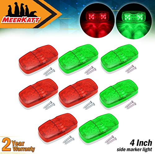 Meerkatt (Pack of 8) 4 Red + 4 Green LED Indicator Lamp Double Bullseye Super Bright 10 Diodes Side Marker Lights Universal for Trailer Truck RV Boat Minibus Jeep Caravan Lorry 12V Clearance Bulb RO12