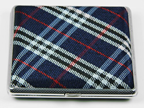 Credit Card Cigarette Case Wallet (Top Rated Stylish RFID Blocking Double Sided King Cigarette Case Holder and Credit Card RFID Protective Security Wallet (Blue Plaid))