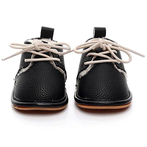Xshuai Infant Baby Mädchen Jungen PU Solid Crib Schuhe Soft Sole Anti-Rutsch Sneakers Für 0-24 Monate Schwarz