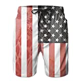 Cute Africa Animals Giraffe And Flag Men's Workout&swim Trunks Quick Dry Board Shorts With Pockets And Drawstring