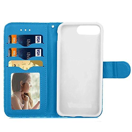 JIALUN-carcasa de telefono Cubierta de la caja de IPhone 7 más, con la ranura para tarjeta, hebilla magnética adornada Shell del teléfono plano para Apple IPhone 7 5.5 pulgadas ( Color : Rose Red , Si Blue