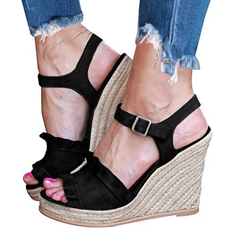 softome Women's Espadrille Wedge Heel Peep Toe Adjustable Buckle Sandals Platform High Heel Slingback Shoes (Slingback Toe Peep Wedge)