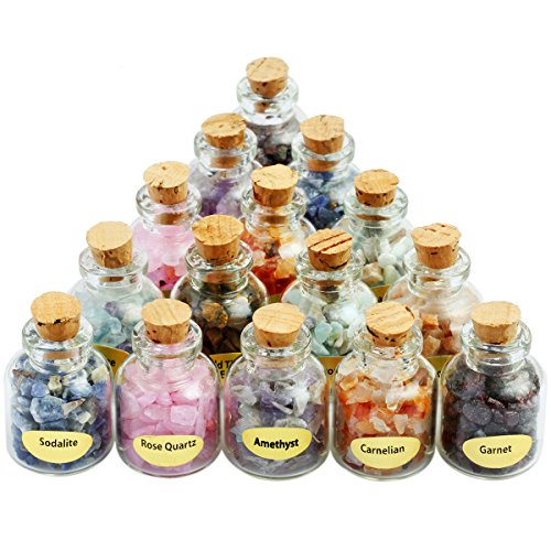 SUNYIK 9 Mini Gemstone Bottles Chip Crystal Healing Tumbled Gem Reiki Wicca Stones - Collection Jasper Cabinet