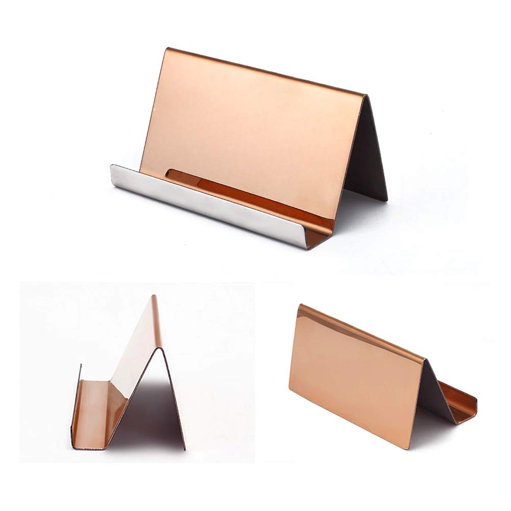 WXJ13 2 Pack Rose Gold Stainless Steel Desktop Display Business Card Holder with 1 Piece Black Cleaning Cloth by WXJ13 (Image #4)