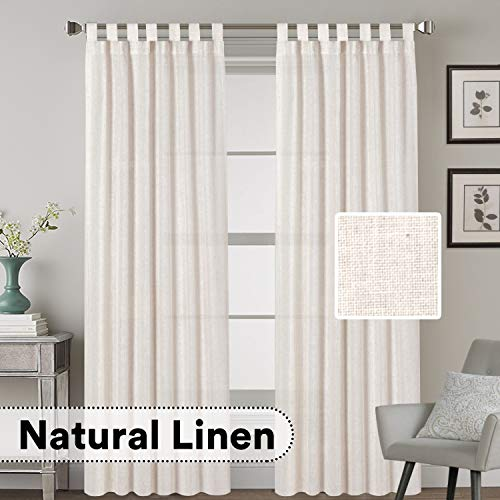 (H.VERSAILTEX Tab Top Natural Linen Blended Airy Curtains for Living Room Home Decor Soft Rich Material Light Reducing Bedroom Drape Panels, Set of 2, 52 x 84 -Inch - Natural Pattern)