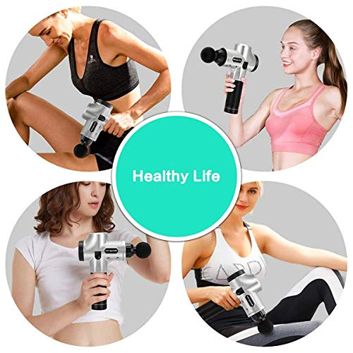 Massage Gun Deep Tissue Percussion Massager for Muscle Tension Relief, Handheld Electric Massager w/ 30 Speeds Rechargeable 2500mAh Battery 6 Heads for Athletes/Physical Therapist/Bodybuilder (Black)