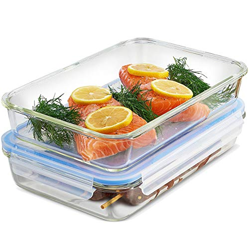 Glass Casserole Dish with Lid - (Set of 2) 12x8 Inch Freezer-to-Oven Safe Baking Dish and Airtight Food Storage Containers, Large Bakeware Pan for Casseroles, Lasagna or Store Leftover Food, 64 Ounce