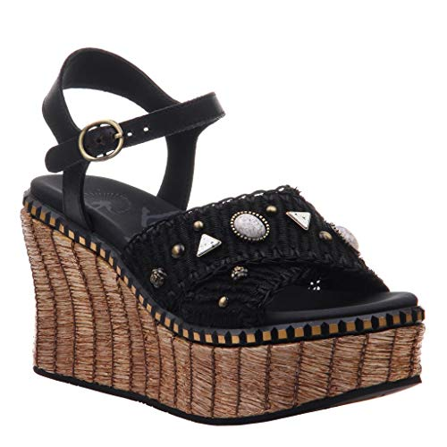 (OTBT Women's Cahoot Wedge Sandals - Black - 11 M US)
