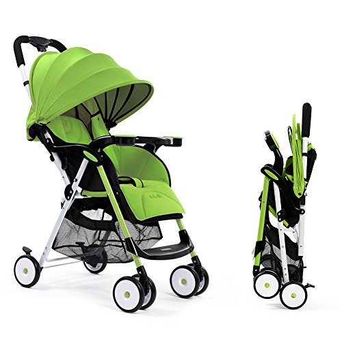 Impbaby 760 Super Lightweight Baby Stroller, Multi-Positon Reclining Seat, Ultra-Compact Portable Folding Infant Pushchair with Tray (Spring Green)