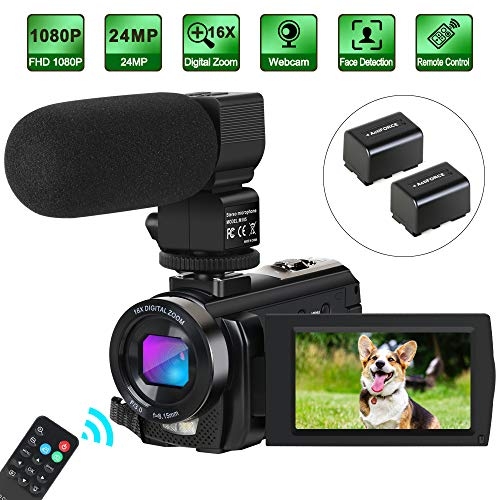 Camcorder Video Camera Digital YouTube Vlogging Camera HD 1080P 30FPS 24MP 16X Digital Zoom 3 Inch LCD Flip Screen Video Recorder with Microphone and Remote Control, 2 Batteries