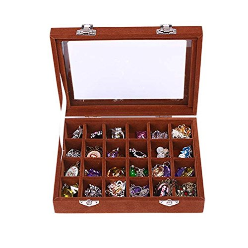 (NOVADEAL 24 Grids PU Velour Leather Multipurpose Jewellery Storage Box Ring/Earrings/Necklace Tray Display Case Organizer - Brown)