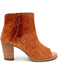 Toms Majorca Peep Toe Booties Cinnamon Suede Perforated with Fringe 10007577 Womens 6.5