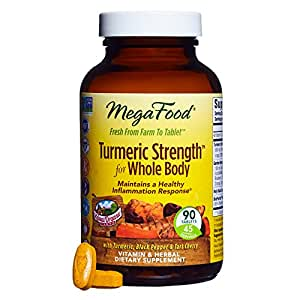 MegaFood - Turmeric Strength for Whole Body, Curcumin Support for a Healthy Inflammation Response with Tart Cherry and Holy Basil Leaf, Vegetarian, Gluten-Free, Non-GMO, 90 Tablets (FFP)