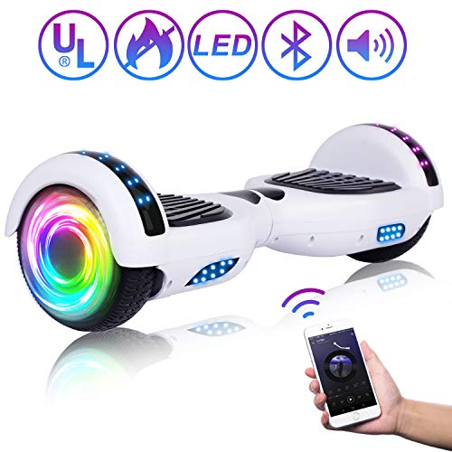 SISIGAD Hoverboard Self Balancing Scooter 6.5″ Two-Wheel Self Balancing Hoverboard with Bluetooth Speaker and LED Lights Electric Scooter for Adult Kids Gift UL 2272 Certified – Pure Color Series