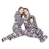 PatPat Matching Family Footed Pajamas Hoodie Sleeper Festival Snowflake Plush Cozy Warm Onesie Grey Men: XL