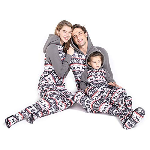 PatPat Matching Family Footed Pajamas Hoodie Sleeper Festival Snowflake Plush Cozy Warm Onesie Grey Kids: 18-24 Months from PatPat