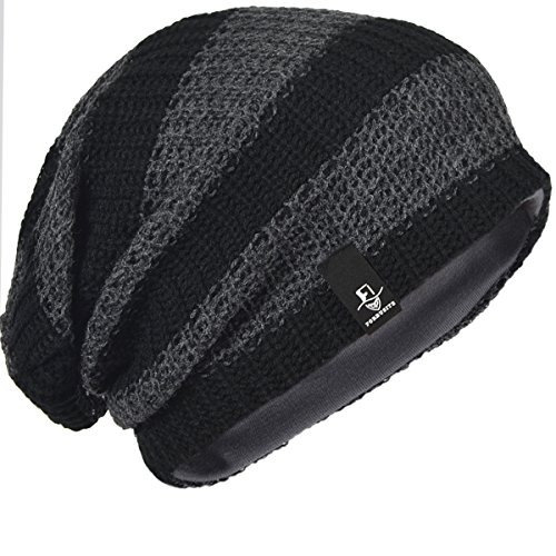 Mens Slouchy Long Beanie Knit Cap for Summer Winter Oversize (B09-Dark - With Heads Men Large