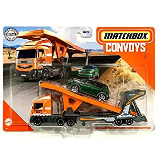 MBX Matchbox 2020 Convoys 7/8 Cabover & Auto Transport Trailer with Evergreen 2011 Mini Countryman