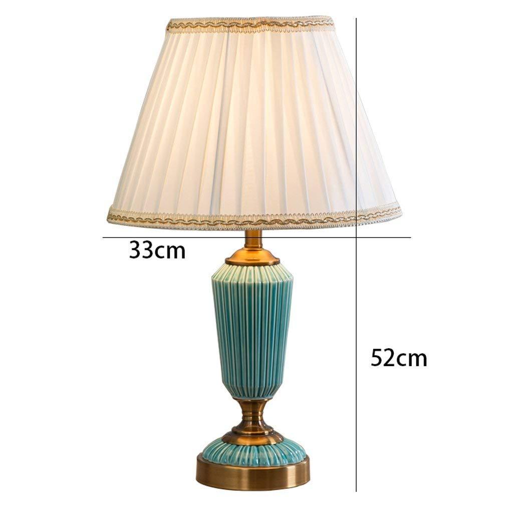 AAXCC Lampada da Tavolo Lampada da Tavolo in Ceramica Americana Soggiorno Camera da Letto Lampada da Comodino Camera di Modello, Studio, Smalto Blu, H52Cm * W33Cm