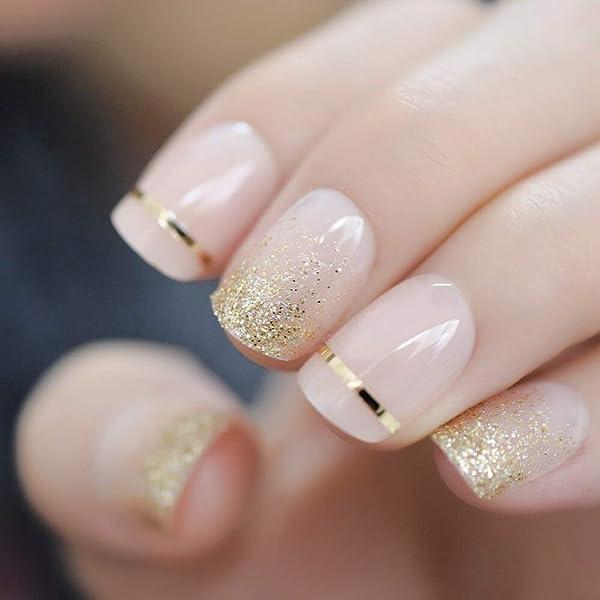 EchiQ Fashion - Uñas postizas de gel con purpurina dorada para ...