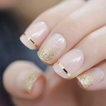 EchiQ Fashion - Uñas postizas de gel con purpurina dorada ...