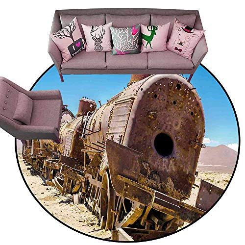 (Non-Slip Bath Hotel Mats Vintage,Rusty Old Abandoned Steam Train Locomotive Cemetery Railroad Wreck Picture Print,Blue Brown Diameter 60