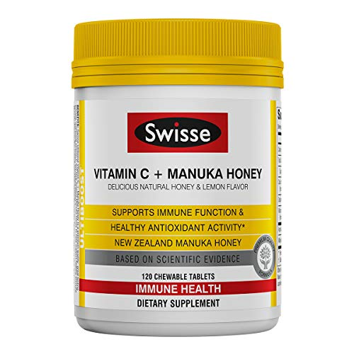 Swisse Ultiboost Chewable Vitamin C + Manuka Honey Tablet, Lemon and Honey, 120 Count