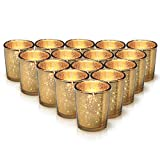 GranRosi Classy Votive Candle Holders Set of 15 - Made Of Mercury Glass With A Speckled Gold Finish - Perfect To Add A Unique Atmosphere To Every Home And Wedding Decor