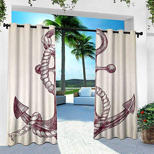 Anchor, Thermal Insulated Water Repellent Drape for Balcony,Realistic Hand Drawn Sketch Marine Vintage Design Sails Yacht Boat Cruise, W96 x L108 Inch, Dark Mauve Cream