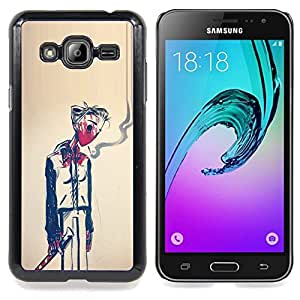 - Man Smoke Death Symbolic Art Painting - - Snap-On Rugged Hard Cover Case Funny HouseFOR Samsung Galaxy J3